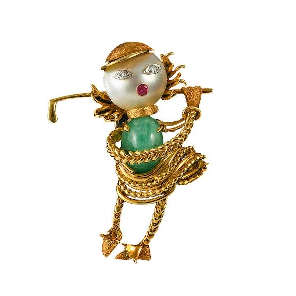 MM6496b Gold gem set novelty 1960c  Ladies golfer brooch.  Unique. - image 1
