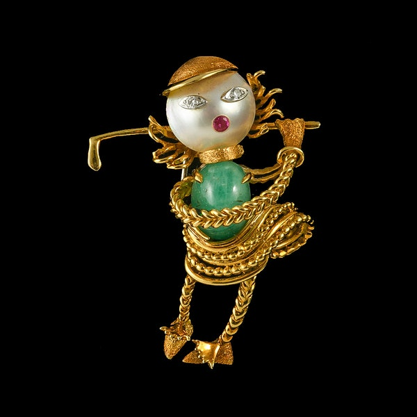 MM6496b Gold gem set novelty 1960c  Ladies golfer brooch.  Unique. - image 2