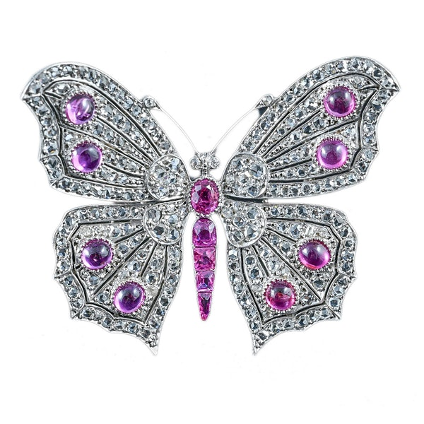 MM6212br Burmese ruby diamond butterfly brooch platinum set 1930/40c - image 1