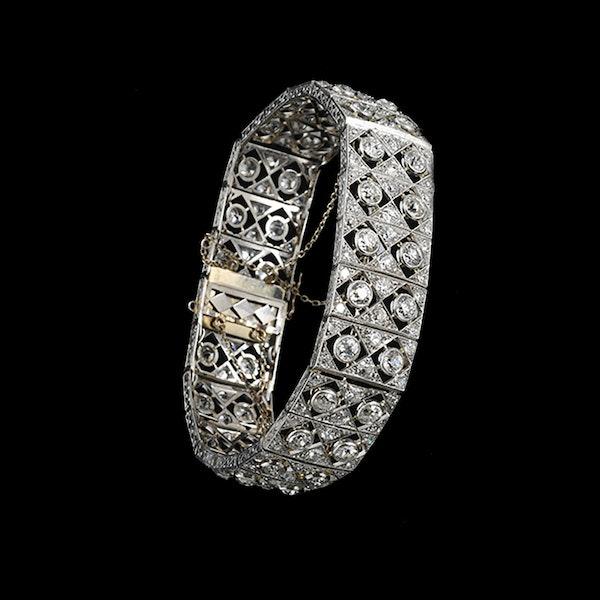 MM5651br Edwardian fine diamond platinum bracelet/ choker 1910c - image 3