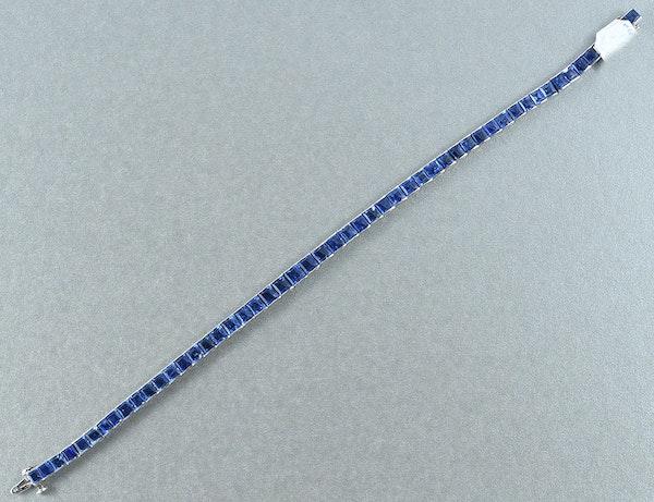 MM6214blt  Platinum set 1930/40c natural unheated sapphire line bracelet - image 2