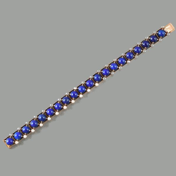 MM6312blt Lapis pearl gold Victorian 1890c bracelet - image 1