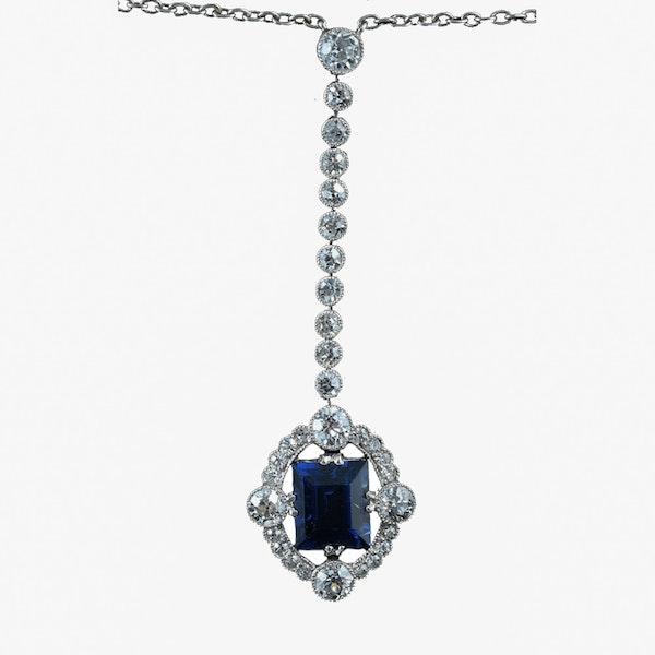 MM6227p Art Deco platinum diamond sapphire long drop pendant 1920c - image 1
