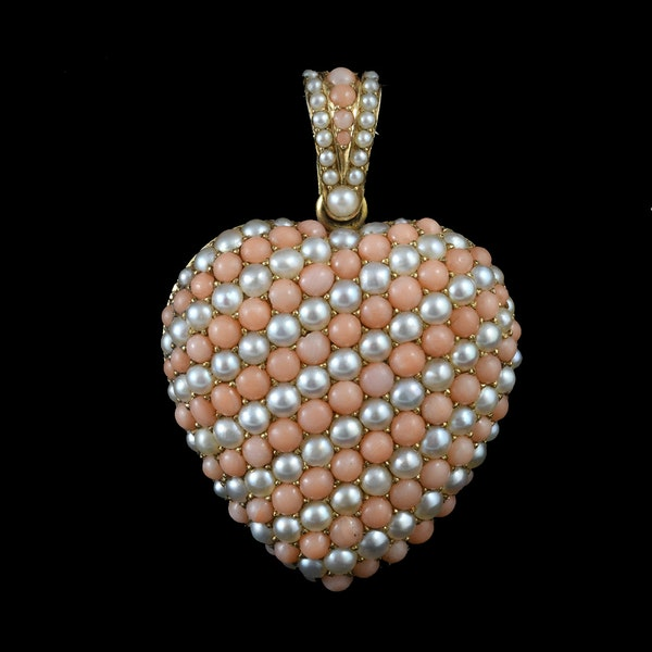 MM6141p Victorian large gold coral and pearl heart locket 1880c - image 2