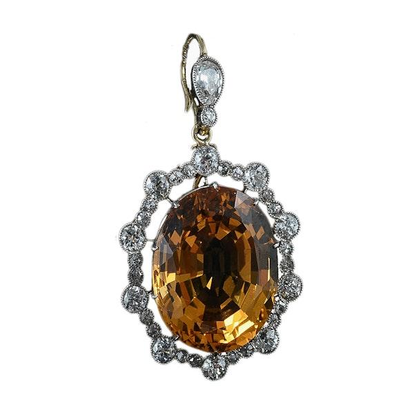 MM6270p Edwardian Topaz diamond gold platinum pendant 1910c - image 1