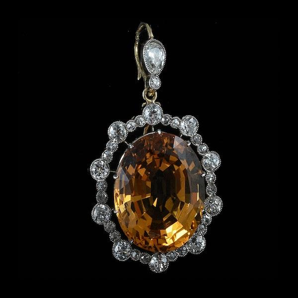 MM6270p Edwardian Topaz diamond gold platinum pendant 1910c - image 2