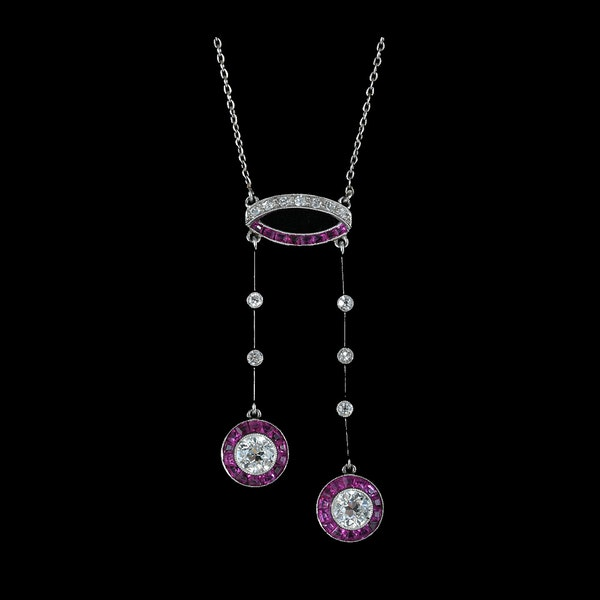 MM6273p Art Deco negligee natural Burmese ruby diamond platinum pendant 1920c - image 1