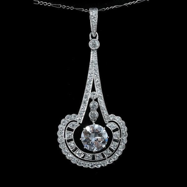 MM6298p Diamond Art Deco onyx pendant fine quality 1920c - image 1