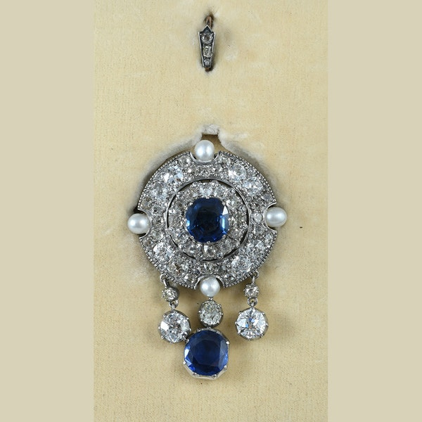MM6309p Victorian diamond pearl natural Burmese sapphires  pendant brooch.  Amazing quality investment piece. 1860c - image 1