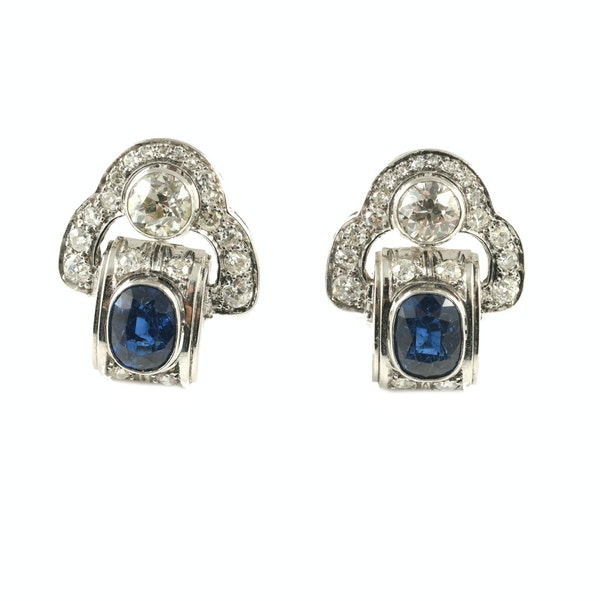 MM6409e Sapphire and diamond clip earrings 1930/40c - image 1