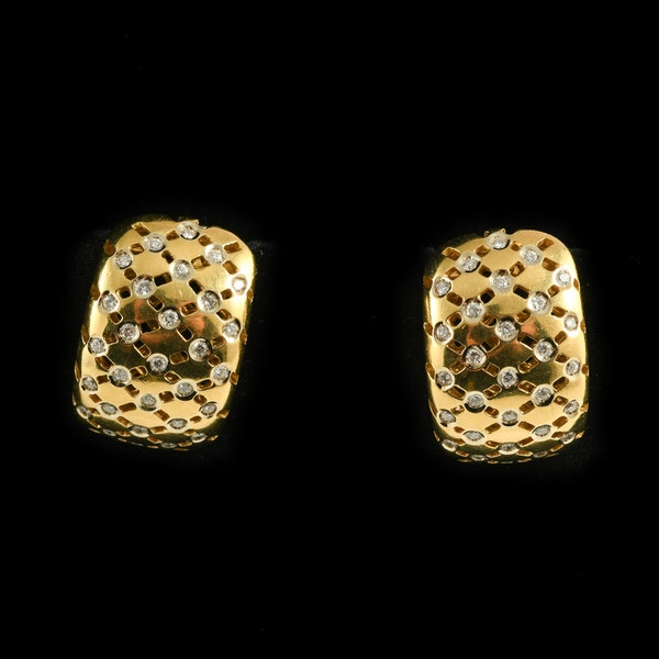 MM6472e Gold diamond wearable French clip earrings 1970c - image 1