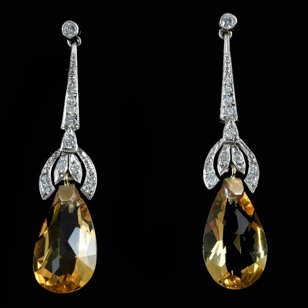 MM6216e Edwardian drop citrine  earrings 1910c.  Rare. - image 1