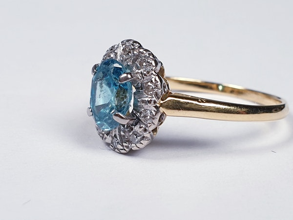 Bright Blue Zircon & Diamond Ring 1336  DBGEMS - image 3