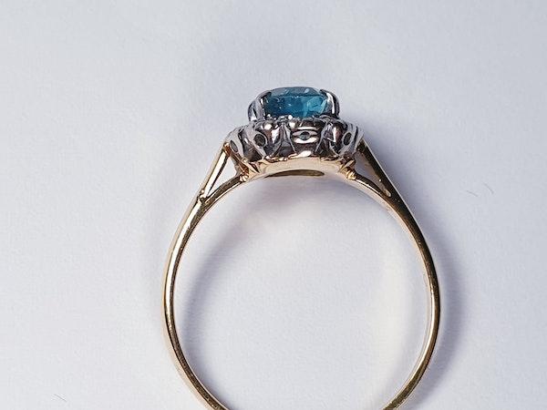 Bright Blue Zircon & Diamond Ring 1336  DBGEMS - image 5