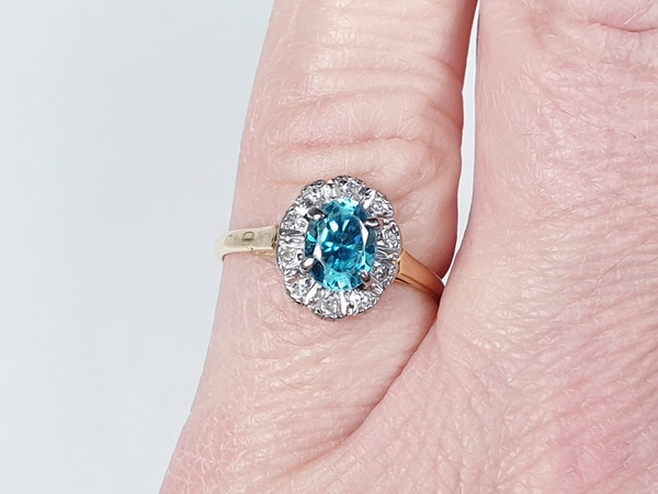 Bright Blue Zircon & Diamond Ring 1336  DBGEMS - image 4