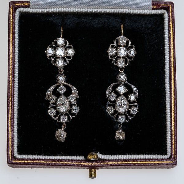 Georgian all diamond earrings with detachable tops - image 2
