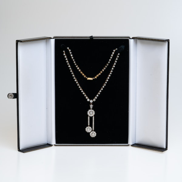 Edwardian diamond riviera necklace  with detachable diamond negligee pendant - image 2