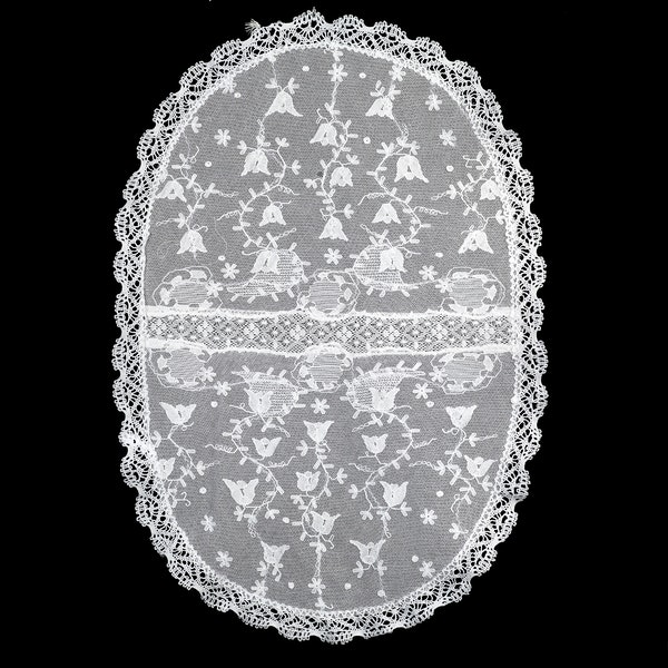 Oval fine embroidered double net and bobbin lace tray cloth,46x30cm - image 2