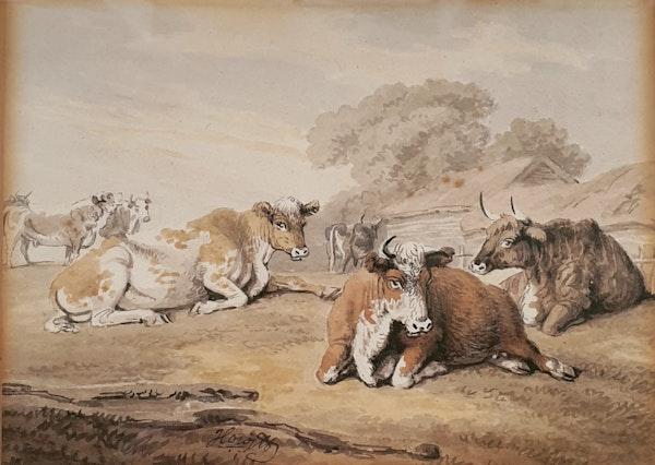 Samuel Howitt Watercolour Circa.1800. Cattle Resting - image 1