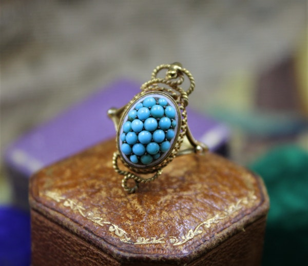 A very fine Victorian Turquoise Serpentine Cluster Ring set in 18ct Yellow Gold, English, Circa 1880 - image 1