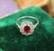 A very fine Siam Ruby & Diamond Cluster Ring mounted in Platinum, English, Circa 1930 - image 3