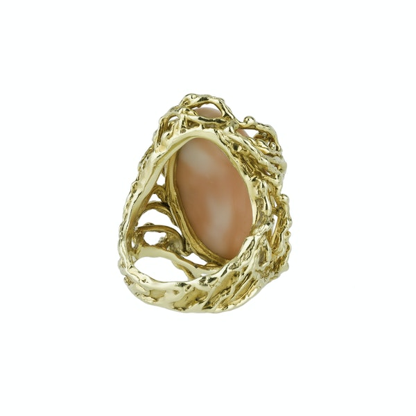Coral and Gold Ring - image 2