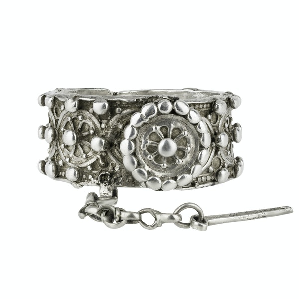 Heavy Oriental Silver Bangle - image 1