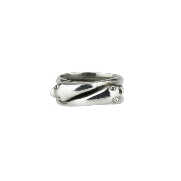 Silver Double headed Snake Ring - image 2