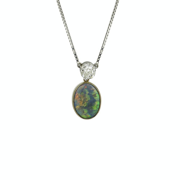 Black Opal & Diamond Pendant. - image 1