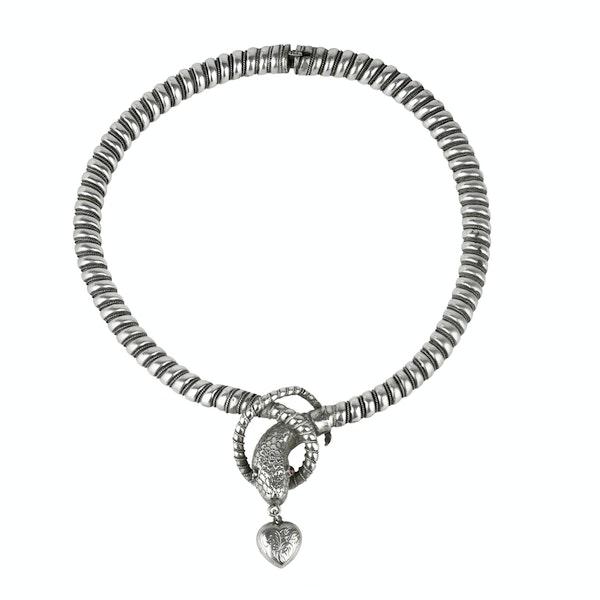 Victorian Silver Snake Collar - image 1