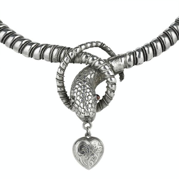 Victorian Silver Snake Collar - image 2