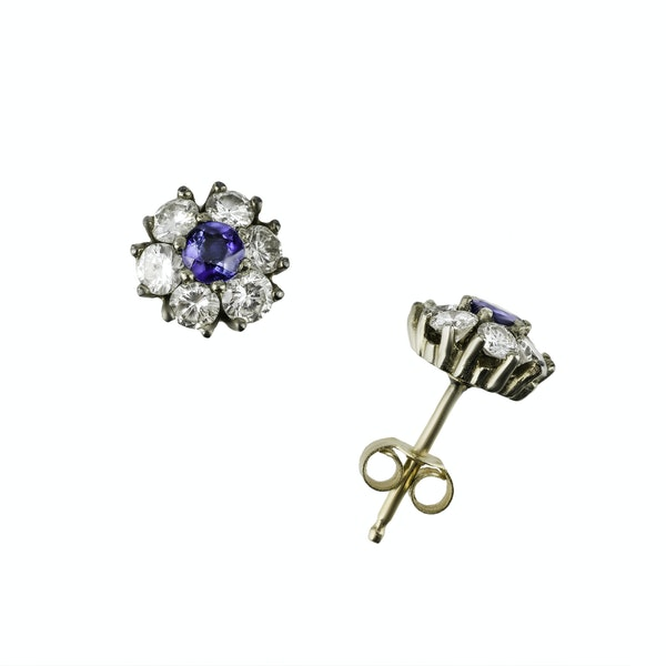 Pair of Sapphire & Diamond Stud Earrings - image 1