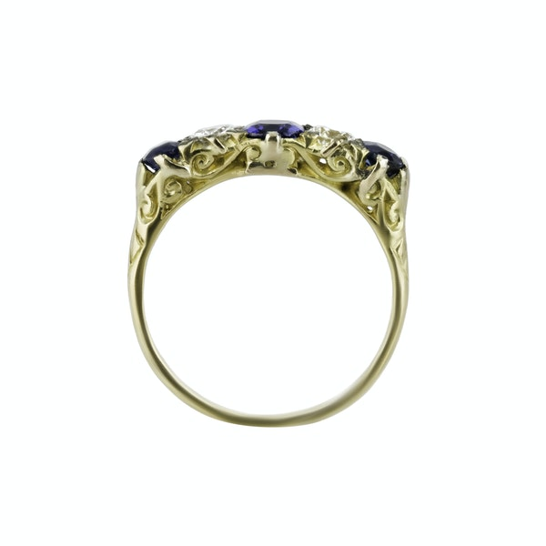 Victorian Sapphire & Diamond Ring - image 2