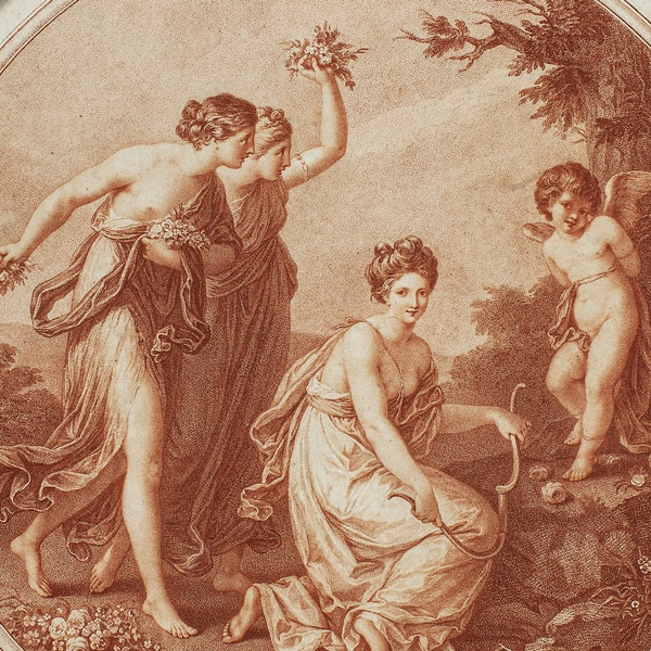Angelica Kauffman Stipple Engraving Late 18th.Century. - image 2