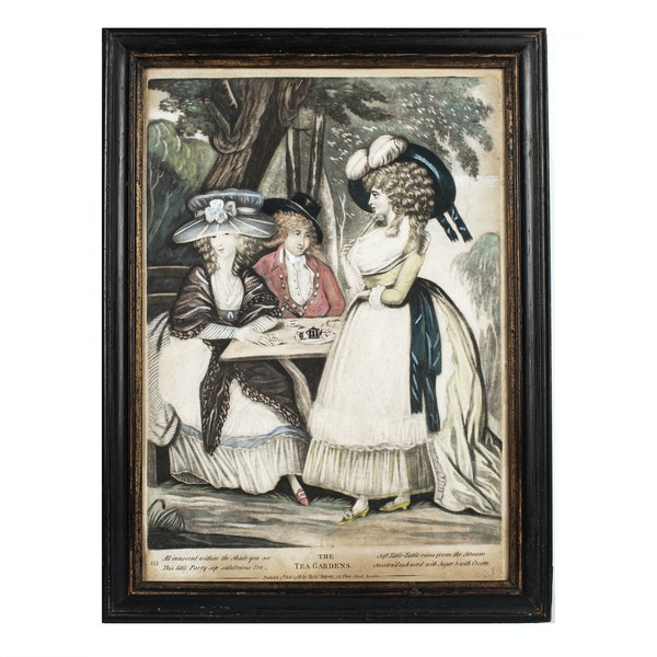 18th.Century Georgian Mezzotint Engraving The Tea Garden - image 1