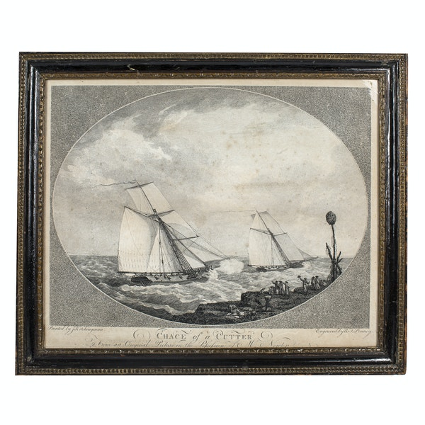 The Chace Of A Cutter 18th.Century Engraving - image 1