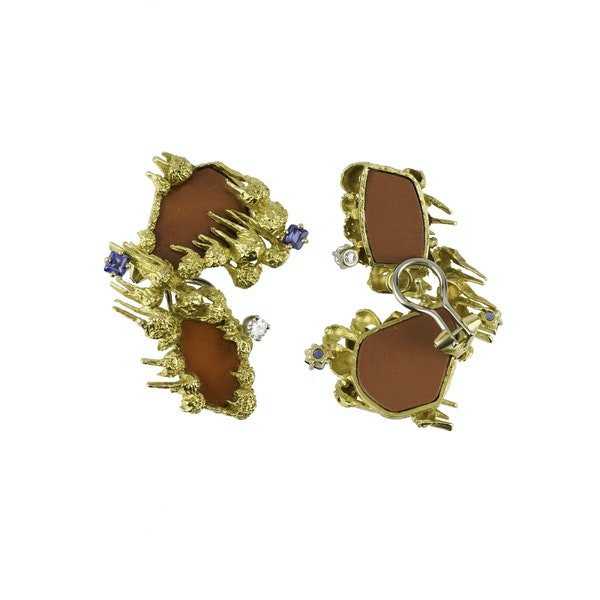 Pair Of Gubelin Gold and Gem set Earrings - image 1
