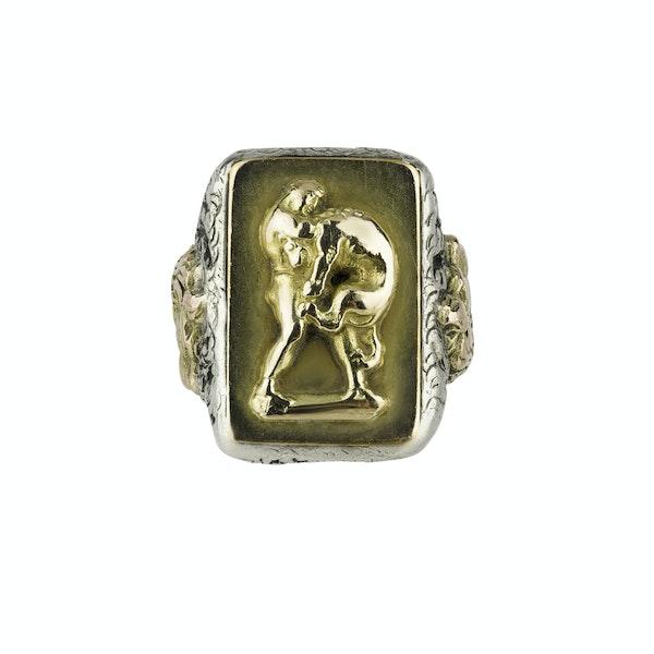 Heavy Gentleman's Sliver & Gold Ring - image 1