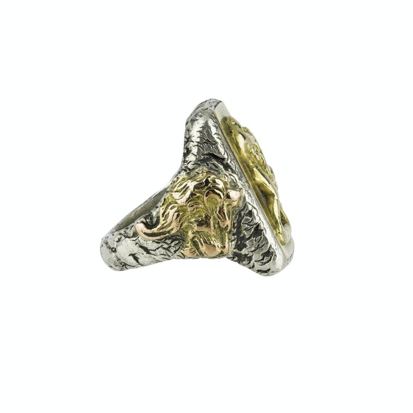 Heavy Gentleman's Sliver & Gold Ring - image 2