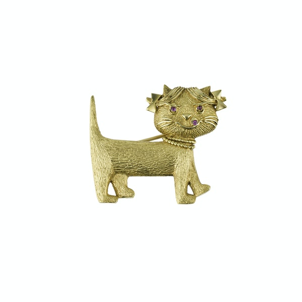 Gold Novelty Pussy Cat Brooch - image 1
