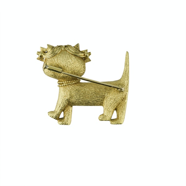 Gold Novelty Pussy Cat Brooch - image 2