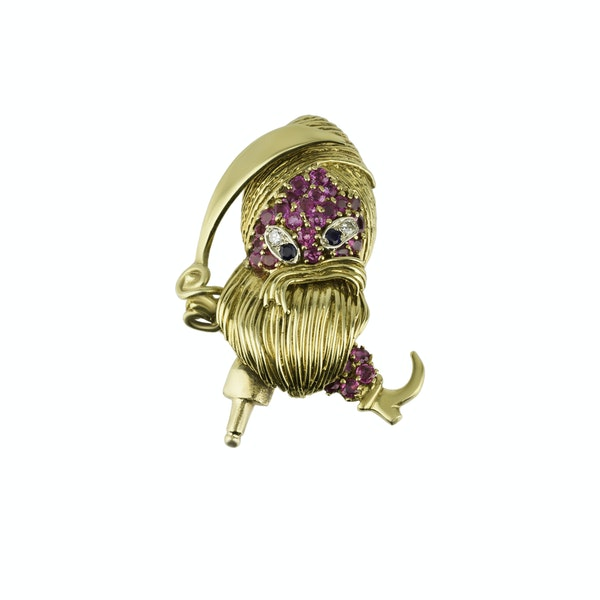 Novelty Gold Pirate Brooch - image 1