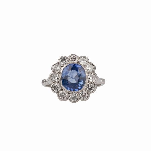 Sapphire diamond platinum ring - image 2