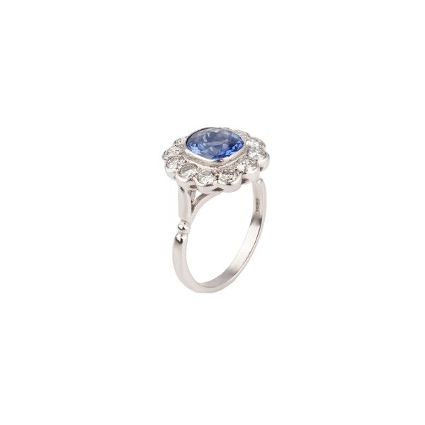 Sapphire diamond platinum ring - image 1