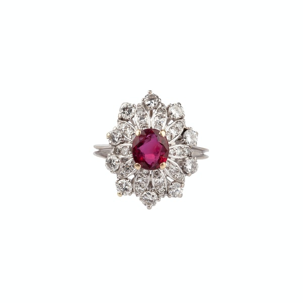 French ruby diamond ring - image 1