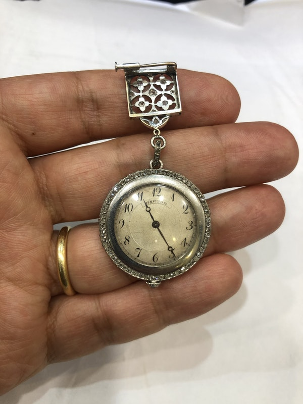 Edwardian diamond platinum watch - image 4