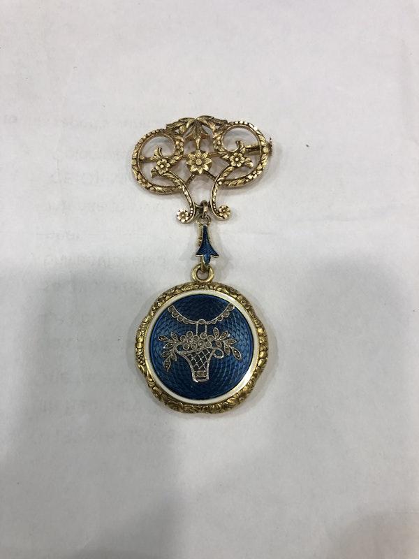 Edwardian enamel gold locket - image 1
