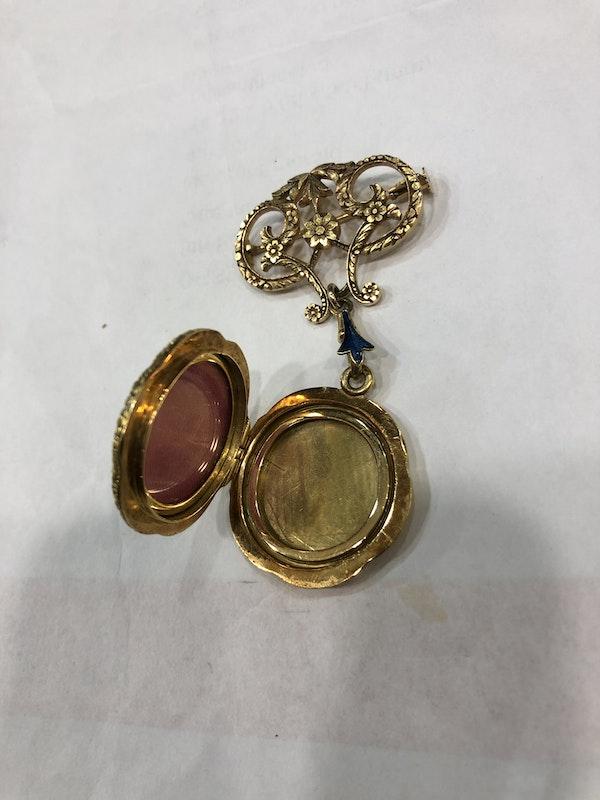 Edwardian enamel gold locket - image 4