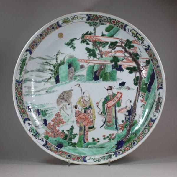 Large Chinese famille-verte dish, Kangxi (1662-1722) - image 1