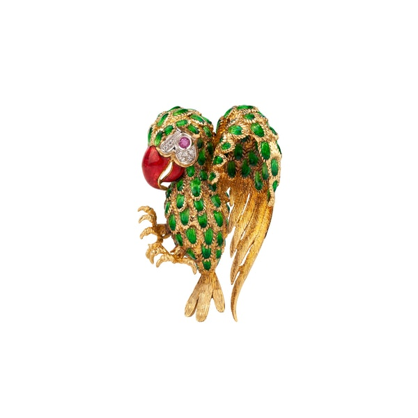 An Italian Enamelled Parrot Brooch Offered by The Gilded Lily - image 1